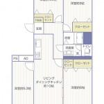 県ドリームハイツ9号棟806号室間取り図