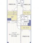 第二大船パークタウンE棟410号室間取り図