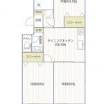三田川崎大師コーポ214号室間取り図