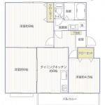 竹山団地4322号棟2241号室間取り図