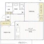 鶴川2丁目団地15-7号棟207号室間取り図