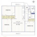 羽根沢第一住宅2号棟302号室間取図