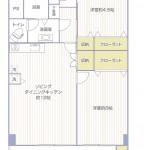 六浦荘団地B棟401号室間取図