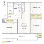 西三田団地3街区6号棟401号室間取図