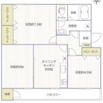 六浦荘団地A棟22号室間取り図
