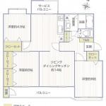 宮前平グリーンハイツ35号棟304号室間取図