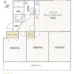 湘南西部住宅2-29号棟2945号室間取図