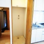 洗濯機置き場は扉が付いていて、普段は隠しておけます(内装)