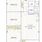 希望ヶ丘第3コーポラスB棟307号室間取り図