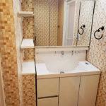 洗面化粧台は、三面鏡にシャワーヘッドと使いやすいタイプ。横には棚も付いています(内装)