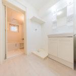 洗面室も全て新しくリフォーム済み。洗面化粧台は便利なシャワーヘッドタイプ(内装)