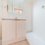 洗面化粧台は裏が収納になっている3面鏡タイプ(内装)