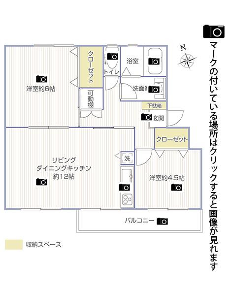 竹山団地4302号棟243号室画像リンク用間取り図