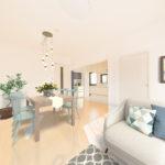 最上階、間取り3LDk 採光面が多く室内全体が明るく風通し良好 柿生の自然に囲まれた快適な空間 ※家具配置イメージ(居間)