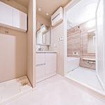 洗面化粧台は3面鏡にシャワーヘッドタイプ。防水パン上部に吊戸棚も付いています(内装)