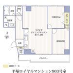 平塚ロイヤルマンション903号室間取り図